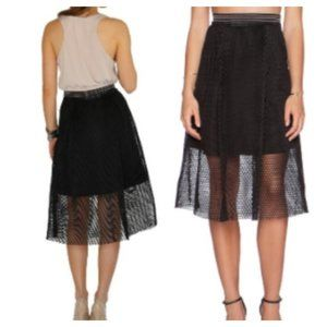 JOA Los Angeles Black Mesh Skirt with Overlay